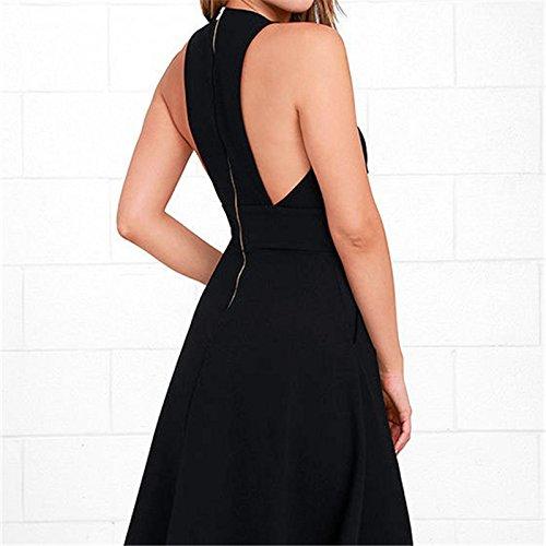 IHRKleidMujeres Elegante Vestido Sin Manga con Cuello V para Verano negro