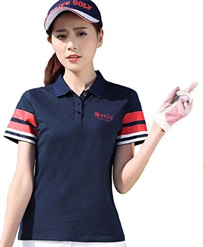 (ケイミ)KEIMI ポロシャツ 半袖 レディース ゴルフウェア スポーツシャツ UVカット 吸汗 速乾 無地 ホワイト ネイビー