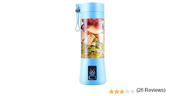 Houmal Batidora de Frutas Con Extractor de Frutas Eléctrico Portátil con 4 Aspas y Batería Recargable por USB para Jugo Batido y Batido Azul: Amazon.es: Hogar