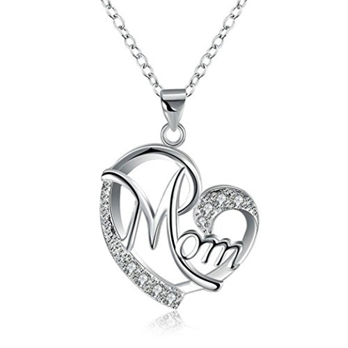 Diamonds Bracelet Sweet (Caopixx Ladies Pendant,2018 Women's Gold Stainless Steel Link Necklace Jewelry Heart Necklace Mother's Day Gift (Silver, Alloy))