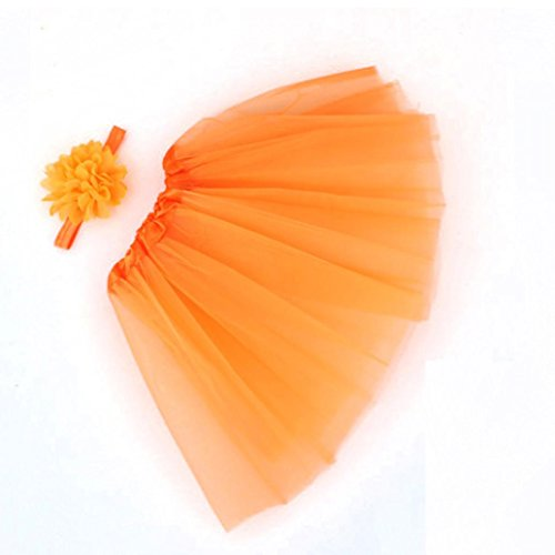 Gotd Newborn Toddler Flower Photography Tutu Skirt Headband (Orange Tutu With Headband)