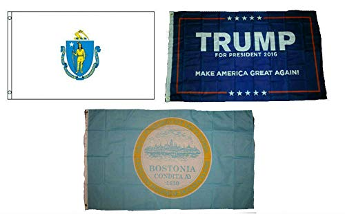 ALBATROS 3 ft x 5 ft Trump #1 with State of Massachusetts with City of Boston Set Flag for Home and Parades, Official Party, All Weather Indoors Outdoors ()