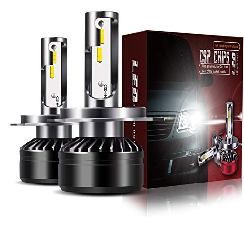 TURBOSII DOT Approved LED Headlight Bulbs Conversion Kit - H4 (9003 HB2 Hi/Low),Extremely Bright 12000LM 6500K Cool White Waterproof - 1 Year Warranty,2PCS