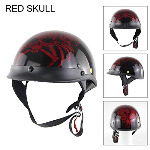 Motorcycle Half Helmet -Vintage Fashion Motor Bike Harley Half Face Helmets, 360 Degree Comfort System 100% DOT Approved for Bike Cruiser Chopper Moped Scooter ATV Red Skull-L