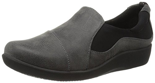 Clarks Women's CloudSteppers Sillian Paz Slip-On Loafer, Grey Synthetic Nubuck, 7 M US