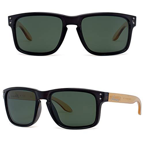 Bnus italy made classic sunglasses corning real glass lens w. polarized option (Black+Crystal Brown Arm / G15 Polarized, Polarized Size:56mm(M)) (Lens Brown Glass)
