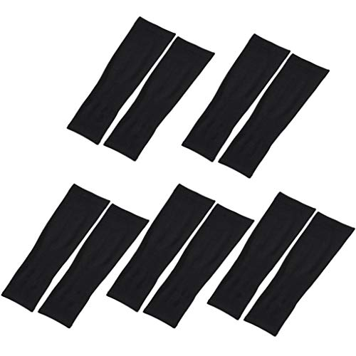 AutumnFall Arm Protector -5 Pairs Cooling Arm Sleeves Cover UV Sun Protection Basketball Outdoor Sport (Black)