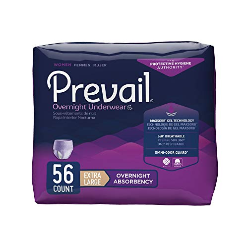 Prevail Overnight Absorbency Incontinence Underwear for Women, Extra Large, 14 Count (Pack of 4)
