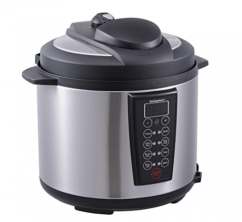 Easy To Use, Dual Pressure, Safety Mechanisms Black 1000-Watt 6-Quart Electric Pressure Cooker Brushed Stainless And Matte 603 ()