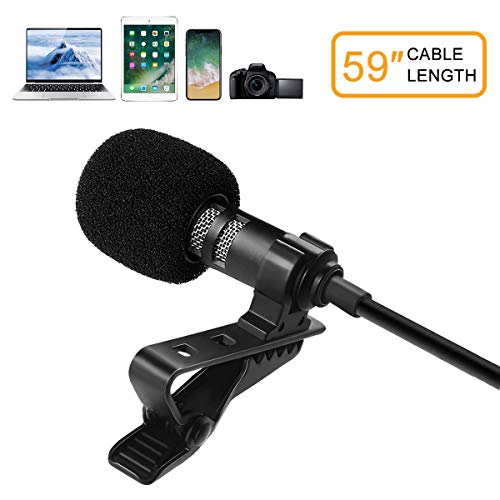 (MDrebel Mini Lavalier Microphone for Recording YouTube, Interview, Video Conference, Podcast and Voice Dictation, Noise Cancelling Mic Compatible with iPhone,Android and Windows Smartphones)