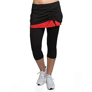 Alex + Abby Women's Energy Skirted Capri Legging Medium Black/Cayenne Red