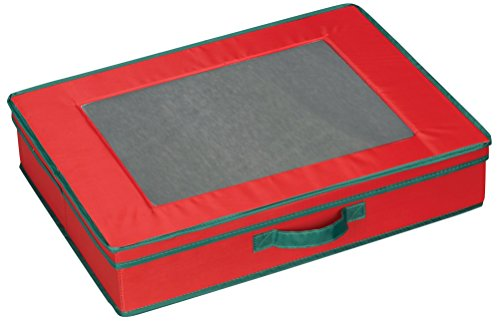 Household Essentials 545 Holiday Vision Storage Box with Lid and Handles | Tabletop Linen Storage Set | Red Canvas with Green - Storage Flatware Green