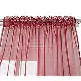 "NIM Textile Elegant Sheer Voile Curtains Panels, Rod Pocket Top, 110""W x 96""L, 2 Panels Set, Deep Red, Love Inn Collection"