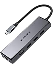 LENTION USB C Multi-Port Hub with 4K HDMI Output, 3 USB 3.0 and Gigabit Ethernet Adapter Compatible 2020-2016 MacBook Pro 13/15/16, M1, New Mac Air & Surface, Chromebook, More (CB-C25, Space Gray)