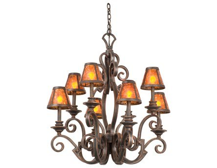 Kalco 4261AC/8045 Ibiza - 60W Eight Light Chandelier, Shade Options: 8045: Leather-wrapped top d: 3 bottom d: 6 h: 5 - Ibiza 8 Light Chandelier