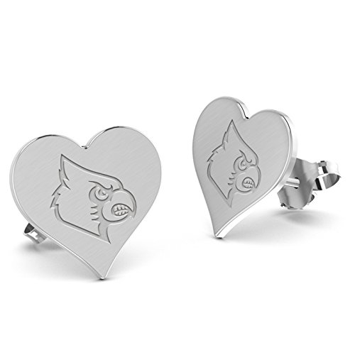 Louisville Cardinals Heart Stud Earring See Image on Model for Size Reference (Large-12mm)