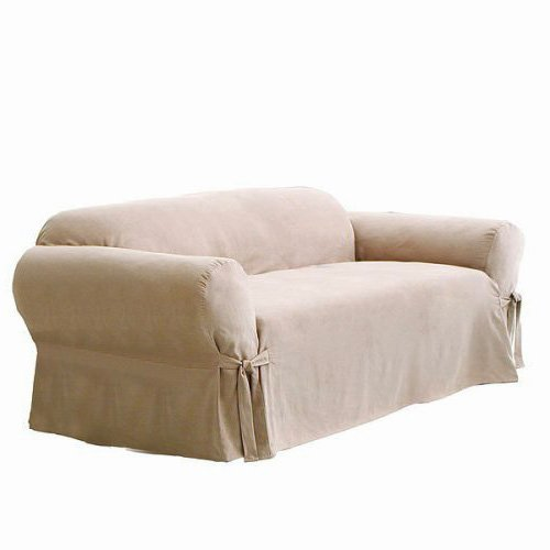 Soft Micro Suede Solid BEIGE / TAN Arm Chair Slipcover - 1 Piece Couch Cover (Large Chair Slipcovers)