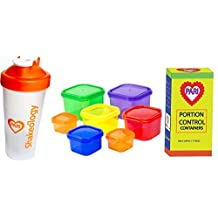 PariInc® 21 Day Fix - Essential Package includes 7 Piece Color-coded Portion Control Container Kit plus Shakeology Protein Shaker cup with Complete Guide