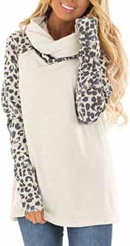 Blivener Women's Casual Sweatshirts Long Sleeve Leopard Print Tops Cowl Neck Raglan Shirts