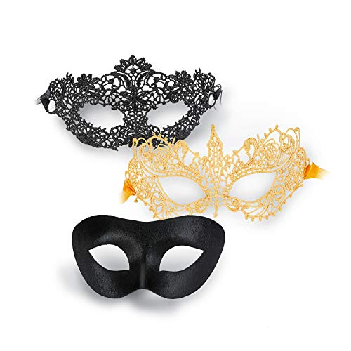Visions Mens Club Halloween Party (Lermity Eye Masks for Women and Men Venetian Masquerade Halloween Ball Party Bars Costume 3 Pcs)