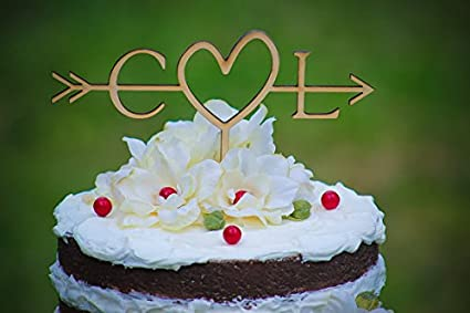 rustic initials arrow cake topper decoration beach wedding bridal shower bride and