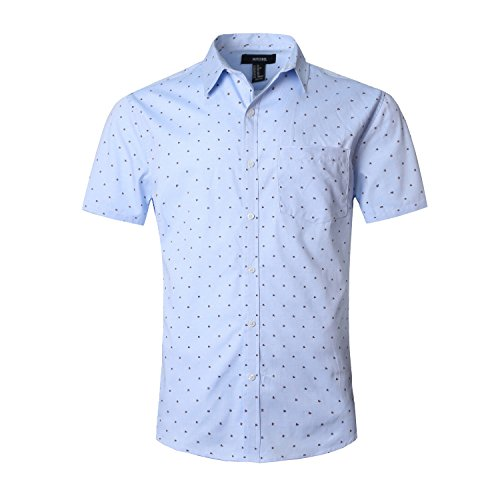 NUTEXROL Men's Regular-Fit Short-Sleeve Oxford Shirt Button Down Collar Dress Shirts Blue L ()