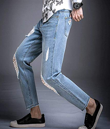 para Jeans Joven Hombres Pants Blau Jeans Pantalones Tlich Denim Stretch Slim Fit Casuales Ripped Fit Denim Straight Pants SdaZqw