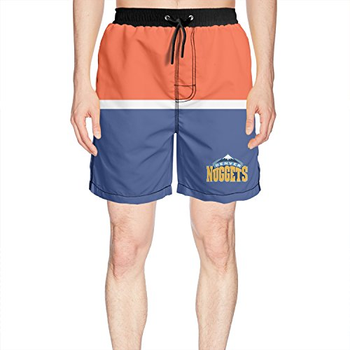 Ruskin Toby Men's Denver-Nuggets-Primary-Logo Beach Shorts Quick Dry Summer Trunks Short