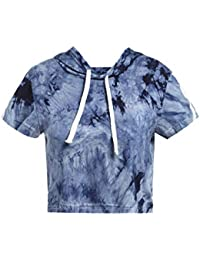 Women's Casual Summer Short Sleeve Loose Hooded Crop Tops T-Shirt