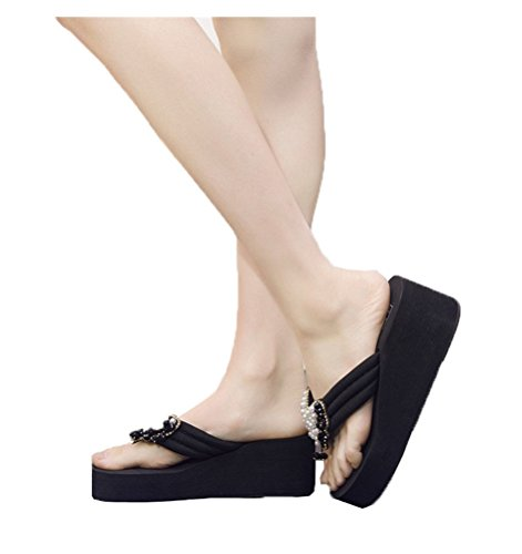 Siempre Pretty Mujeres Con Cuentas Bowknot Cuñas Sandalias De Plataforma Flip-flop Azul Marino