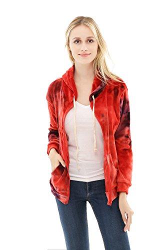 Hoodie Zip For Women Velvet Tie Dye Full Zip Up Sweatshirt (X-Large, Red) (Tie Dye Velvet)