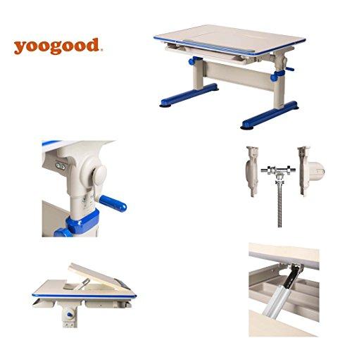 Height Adjustable Children Study Desk Stainless Steel Frame with Tilting Tabletop Drawer Storage PVC Bundle(Desk, Blue) by Yoogood