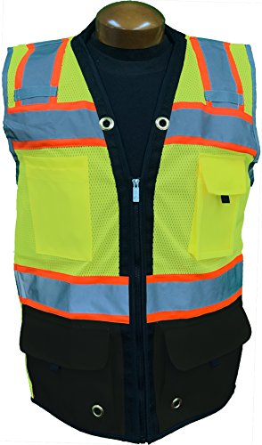 (SHINE BRIGHT SV544BK | Premium Surveyor's High Visibility Safety Vest | 2 Tone Lime Black with Reflective Strips | ANSI CLASS 2 | Soft and Breathable |Heavy Duty Zipper Front | Size Large)