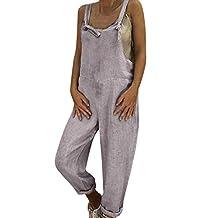 Women Linen Solid Casual Long Bib Pants Bohemian Dungarees Harem Pant Loose Jumpsuit