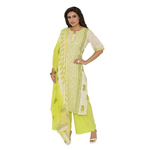 PinkShink White and Yellow Hand Embroidered Lucknowi Chikan Kurta Palazzo Dupatta Set (XL) d271xl