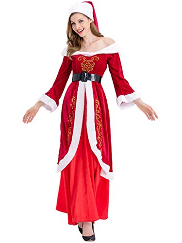 Leright Women's Velvet Mrs Santa Claus Christmas Costume Dress Cosplay Outfit, Red, One size fit for (Mrs Santa Outfit)
