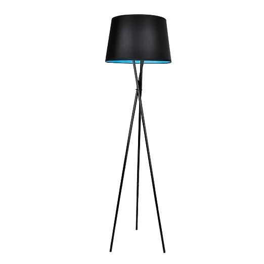 Minisun modern black tripod base and blue inner tapered shade minisun modern black tripod base and blue inner tapered shade floor lamp aloadofball Gallery