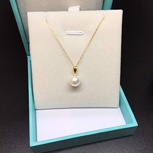 18K Yellow Gold Freshwater Pearl Necklace White Round Pearl Pendant Necklace 18