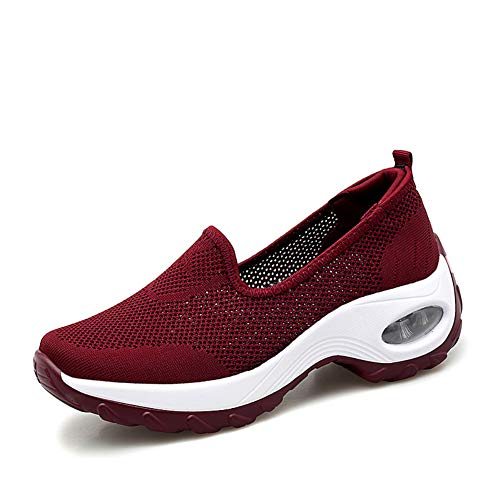 GZTEESER Platform Slip on Sneakers for Women Comfortable Walking Shoes Red Size 7.5