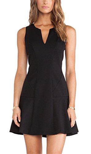 Sheinside® Women's Black V Neck Sleeveless Ruffle Slim Dress (L, Black)