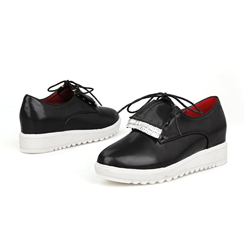 Show Shine Wig Sleehak Platform Veter Oxford Schoenen Zwart