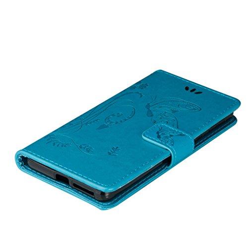 Erdong® Magnético Folio Flip Caso Con pata de cabra titular de la tarjeta Para Sony Xperia E5, Elegant Simple Book-style [Azul flor de mariposa] patrón de impresión cuero del soporte Folio Pouch Prote