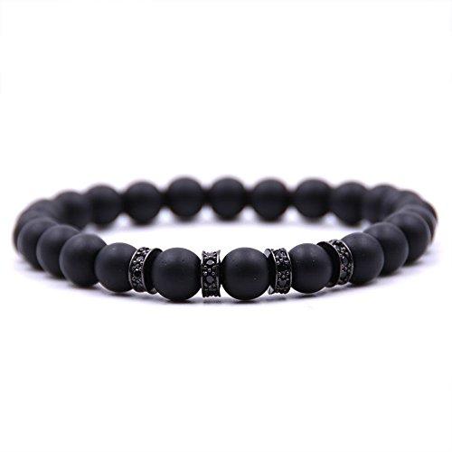 Dolovely 8mm Black Matte Onyx Beads CZ Cross Charm Bracelet Set for Men Women by Dolovely (Image #3)