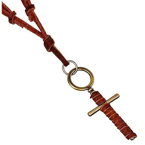 a16808a7ef41 AnaZoz Joyería de Moda Chapado en Oro Collar de Hombre Oro Collar Colgante  Hombre Forma Cruz