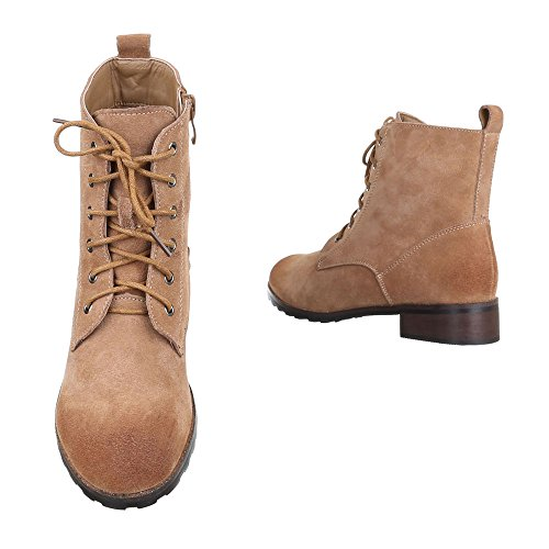 Ital-Design Schnürboots Damen Leder Schuhe Combat Boots Blockabsatz Leicht Gefütterte Reißverschluss Stiefeletten Hellbraun