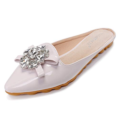 Cattle Shop Flat Slippers for Women Rhinestone Mules Pointed Toe Slip On Sandals Shoes Beige