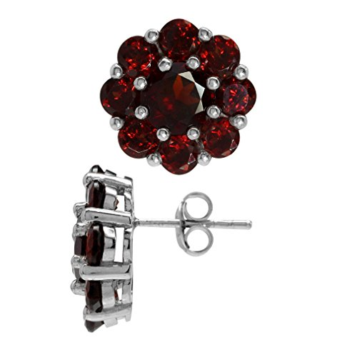 (8.64ct. Natural Garnet White Gold Plated 925 Sterling Silver Flower Cluster Post Earrings)