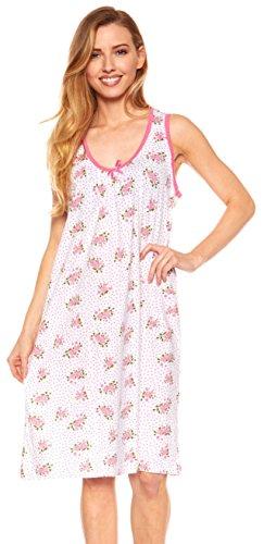 Womens Nightgown Sleeveless Cotton Pajamas - Sleepwear Nightshirt (XL, (Cotton Sleeveless Nightgown)