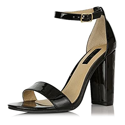 DailyShoes Women's Fashion Chunky Heel Sandal Open Toe Wedding Pumps with Buckle Ankle Strap Party Evening Shoes