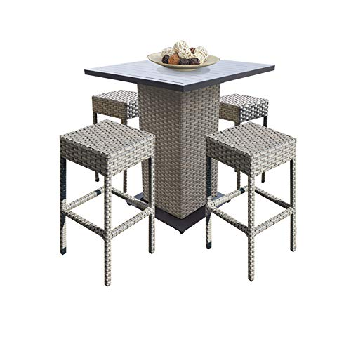 TK Classics Oasis Outdoor Wicker Patio 5Piece Pub Table Set with Backless Barstools Furniture, Grey Stone ()